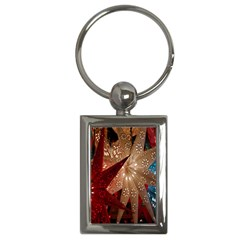 Poinsettia Red Blue White Key Chains (Rectangle)