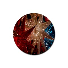 Poinsettia Red Blue White Rubber Round Coaster (4 Pack)