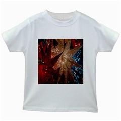 Poinsettia Red Blue White Kids White T-Shirts