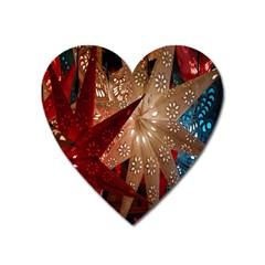 Poinsettia Red Blue White Heart Magnet