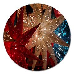 Poinsettia Red Blue White Magnet 5  (Round)