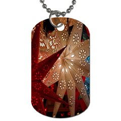 Poinsettia Red Blue White Dog Tag (Two Sides)