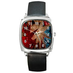 Poinsettia Red Blue White Square Metal Watch