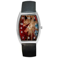 Poinsettia Red Blue White Barrel Style Metal Watch