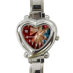 Poinsettia Red Blue White Heart Italian Charm Watch
