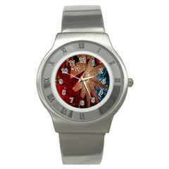 Poinsettia Red Blue White Stainless Steel Watch