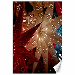 Poinsettia Red Blue White Canvas 12  x 18