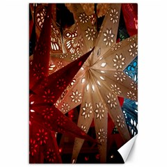 Poinsettia Red Blue White Canvas 20  x 30