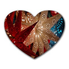 Poinsettia Red Blue White Heart Mousepads