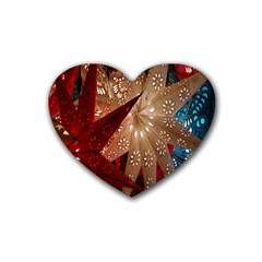 Poinsettia Red Blue White Heart Coaster (4 pack)