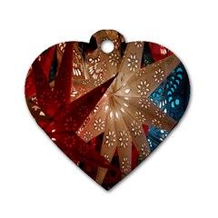 Poinsettia Red Blue White Dog Tag Heart (Two Sides)