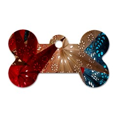 Poinsettia Red Blue White Dog Tag Bone (Two Sides)
