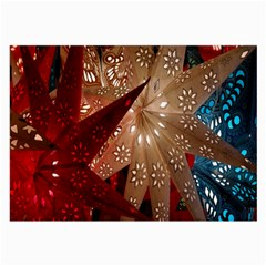 Poinsettia Red Blue White Large Glasses Cloth (2-Side)