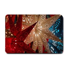 Poinsettia Red Blue White Small Doormat