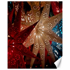 Poinsettia Red Blue White Canvas 11  x 14
