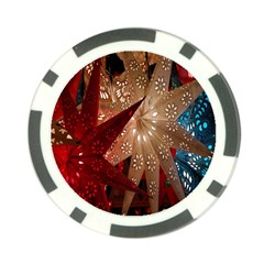 Poinsettia Red Blue White Poker Chip Card Guard