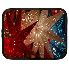 Poinsettia Red Blue White Netbook Case (large)