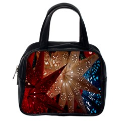 Poinsettia Red Blue White Classic Handbags (One Side)