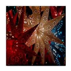 Poinsettia Red Blue White Face Towel
