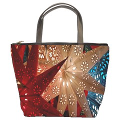 Poinsettia Red Blue White Bucket Bags