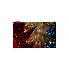 Poinsettia Red Blue White Cosmetic Bag (Small)