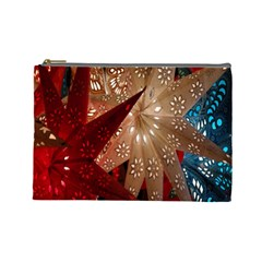 Poinsettia Red Blue White Cosmetic Bag (Large)