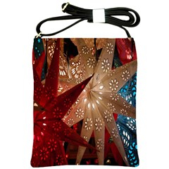 Poinsettia Red Blue White Shoulder Sling Bags