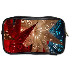 Poinsettia Red Blue White Toiletries Bags