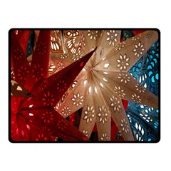 Poinsettia Red Blue White Fleece Blanket (Small)