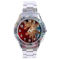 Poinsettia Red Blue White Stainless Steel Analogue Watch