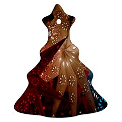 Poinsettia Red Blue White Christmas Tree Ornament (two Sides)