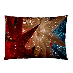 Poinsettia Red Blue White Pillow Case (Two Sides)