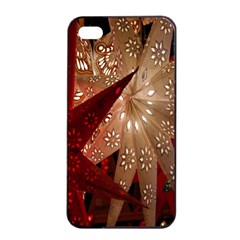 Poinsettia Red Blue White Apple iPhone 4/4s Seamless Case (Black)