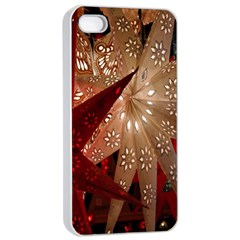 Poinsettia Red Blue White Apple iPhone 4/4s Seamless Case (White)