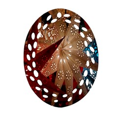 Poinsettia Red Blue White Oval Filigree Ornament (Two Sides)