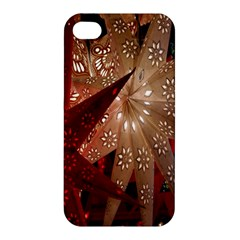 Poinsettia Red Blue White Apple iPhone 4/4S Hardshell Case