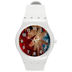Poinsettia Red Blue White Round Plastic Sport Watch (m)