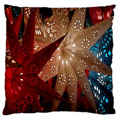 Poinsettia Red Blue White Large Cushion Case (two Sides)
