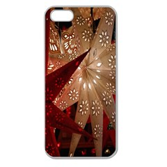 Poinsettia Red Blue White Apple Seamless iPhone 5 Case (Clear)
