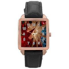 Poinsettia Red Blue White Rose Gold Leather Watch