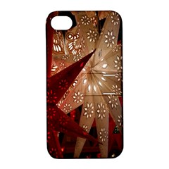 Poinsettia Red Blue White Apple Iphone 4/4s Hardshell Case With Stand