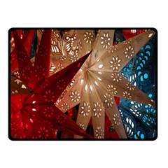 Poinsettia Red Blue White Double Sided Fleece Blanket (small)