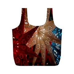 Poinsettia Red Blue White Full Print Recycle Bags (m)