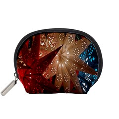 Poinsettia Red Blue White Accessory Pouches (small)