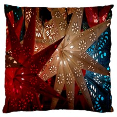 Poinsettia Red Blue White Large Flano Cushion Case (One Side)