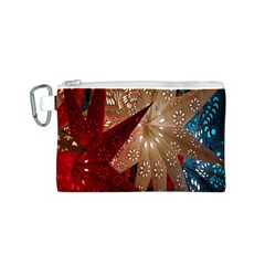 Poinsettia Red Blue White Canvas Cosmetic Bag (s)