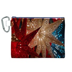 Poinsettia Red Blue White Canvas Cosmetic Bag (XL)