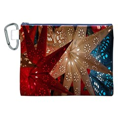 Poinsettia Red Blue White Canvas Cosmetic Bag (xxl)