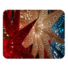 Poinsettia Red Blue White Double Sided Flano Blanket (large)