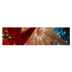 Poinsettia Red Blue White Satin Scarf (oblong)